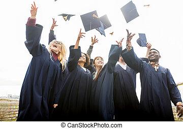 tablas, estudiantes, mortero, arriba, lanzamiento, feliz