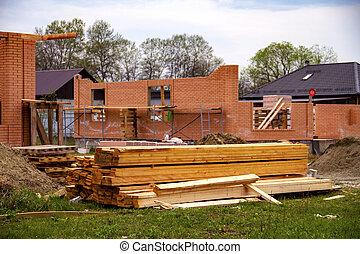 tablas, nuevo, urbanizado, casa, inacabado, área, pila, ...
