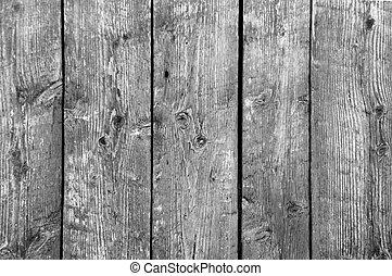 tablas, vertical, b/w, cinco, plano de fondo, granero