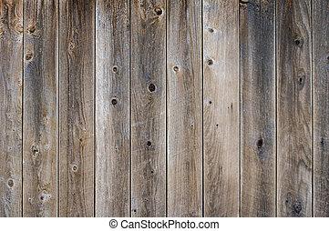 tablas, vetical, usado, gris, nudos, cerca, fin