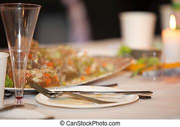 table, à, nourriture boisson, événement, fête