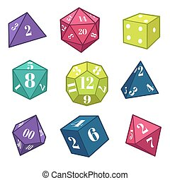 table, équipement, rpg, jeux dés, sommet, fantasme, polyèdre