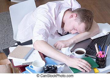 table, étudiant, dormir