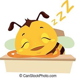 table, abeille, dormir