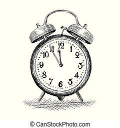 Table alarm clock. - Table clock with alarm. Vector image ...