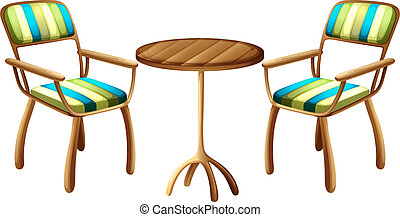 Table and chair furnitures - Illustration of the table and...