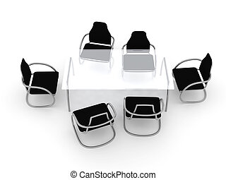 Table and Chairs 3 - 3D rendered Illustration.