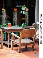Table and chairs in restaurant