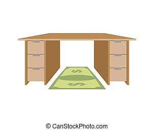 Table and rug dollar. Mat under feet of money bill. Large working office desk. Furniture with drawers