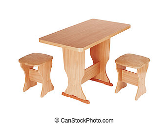 The table and stools are isolated on a white background