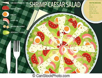 Table appointments with Caesar salad - Infografics recipe...