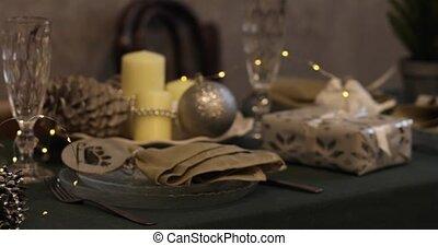 table., arrière-plan., bougies, 2019, nouveau, arbre, ...