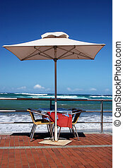 table, beachfront
