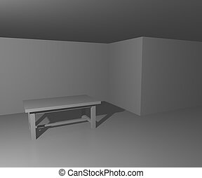 table, blanche salle, fond