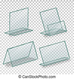 Acrylic vector empty plastic holder for business card holder for table blank plastic stand holder vector empty business information plexiglass holder for menu paper reheart Images