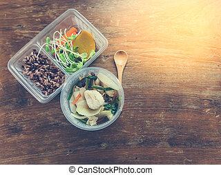 table., boîte bois, déjeuner, nourriture, sain