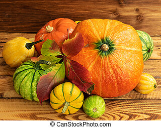 table, bois, assorti, composition, automne, potirons, thanksgiving