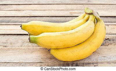 table bois, bananes, frais