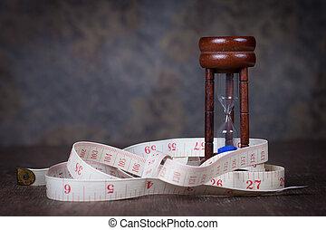 table, bois, bande, sablier, mesure