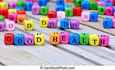 table bois, bonne santé, mots