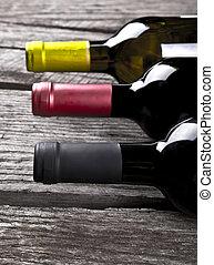 table bois, bouteille, vin