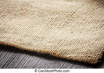 table bois, burlap, fond, texture
