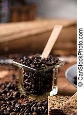 table bois, café, concept, organique