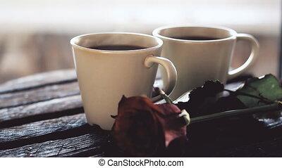 table bois, café, fond, tasse