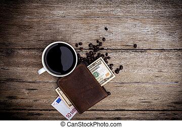 table bois, café