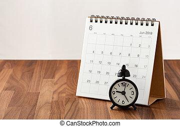 table bois, calendrier, horloge