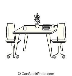 table bois, chaise, bureau