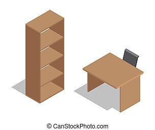 table bois, chaise, shelving., bureau