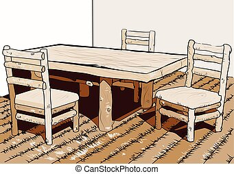 table bois, chaises