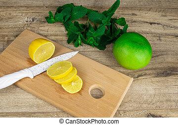 table., bois, citron, planche, découpage