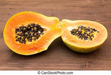 table bois, coupure, papaye, moitié