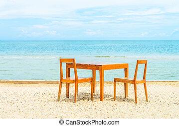 table bois, dîner, chaise plage
