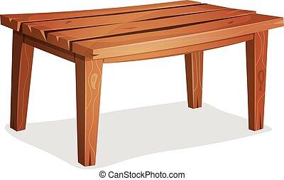 table, bois, dessin animé