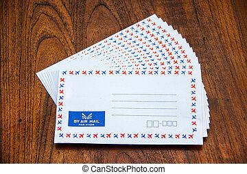 table bois, enveloppe, courrier, air