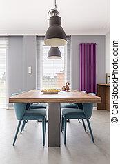 table bois, et, turquoise, chaises