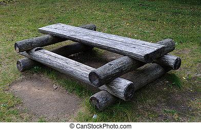 table bois, extérieur, forêt