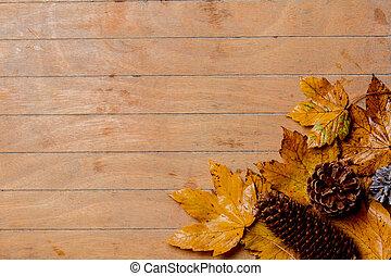 table bois, feuilles, érable