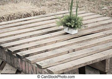 table bois, fleurs