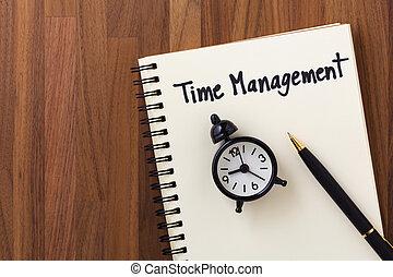 table bois, gestion, fond, temps