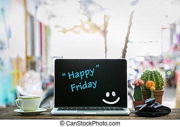 table, bois, heureux, ordinateur portable, vendredi