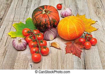 table bois, légumes, autre, citrouille