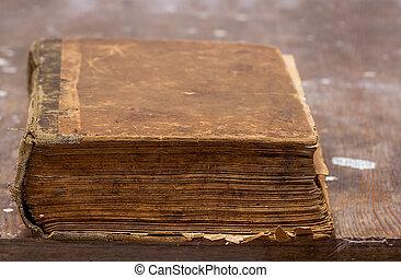 table bois, livre, vieux