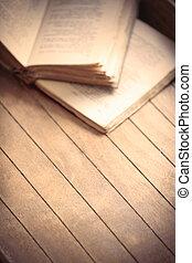 table bois, livres, vieux