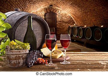 table bois, lunettes, bouteille, vin
