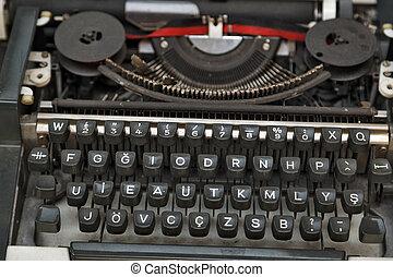 table bois, machine écrire