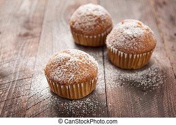 table bois, muffins faits maison